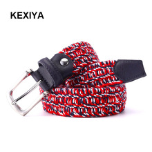 KEXIYA Designer Men Belt Woven Elastic Band with Luxury High Quality Knitted Elastic Braid Band Casual Fashion Accessories Belt