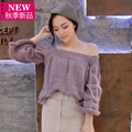 2017 spring new Casual Women  Loose Knitted Top Pullovers Sexy Off Shoulder Ruched Slash Neck sweater