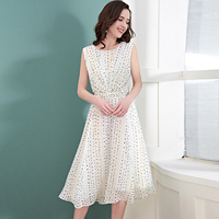 100% Silk Dress Women White Dot Print Elegant Style O Neck Sleeveless Sashes Grade Fabric Pius Sizes Summer New Fashion 2018
