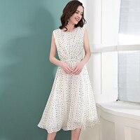 100% Silk Dress Women White Dot Print Elegant Style O Neck Sleeveless Sashes Grade Fabric Pius Sizes Summer New Fashion 2018