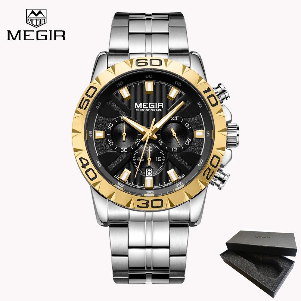 100% QualitäT Volle Edelstahl Sport Uhr Männer Quarz Platz Luxus Top Marke Militär Uhren Chronograph Armbanduhr Männlichen Uhr Relogios Uhren