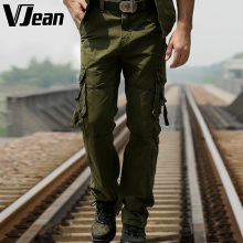 Men's Casual Military Cargo Pants Army Style Cotton Trousers Washed in Summer/Spring 2015