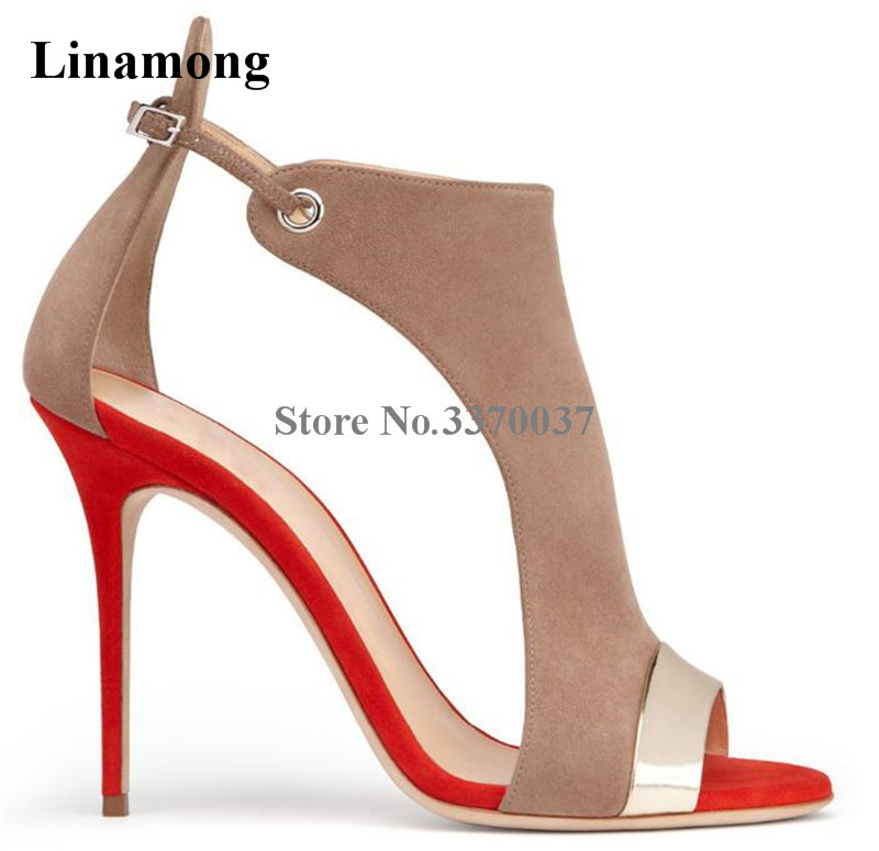 New Fashion Suede Leather Peep Toe Patchwork Color Stiletto Heel Sandals Cut-out Big Size High Heel Sandals Dress Shoes fashionable pu leather and stiletto heel design sandals for women