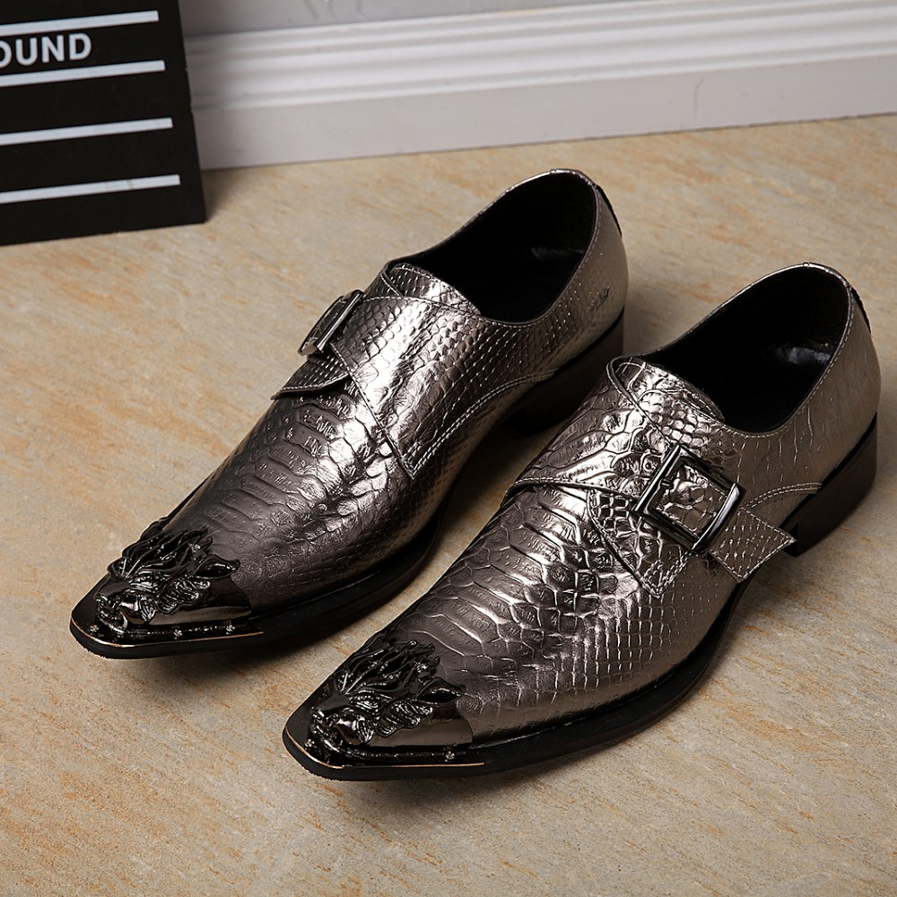 Christia Bella Luxury Brand Pointed Toe Gold Dress Formal Shoes Metallic Glitter Loafers Man Snake Skin Leather Oxfords Night Shoes