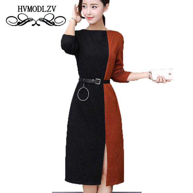 2017 New Autumn Winter Knit Dress Women Vestidos Plus Size Long