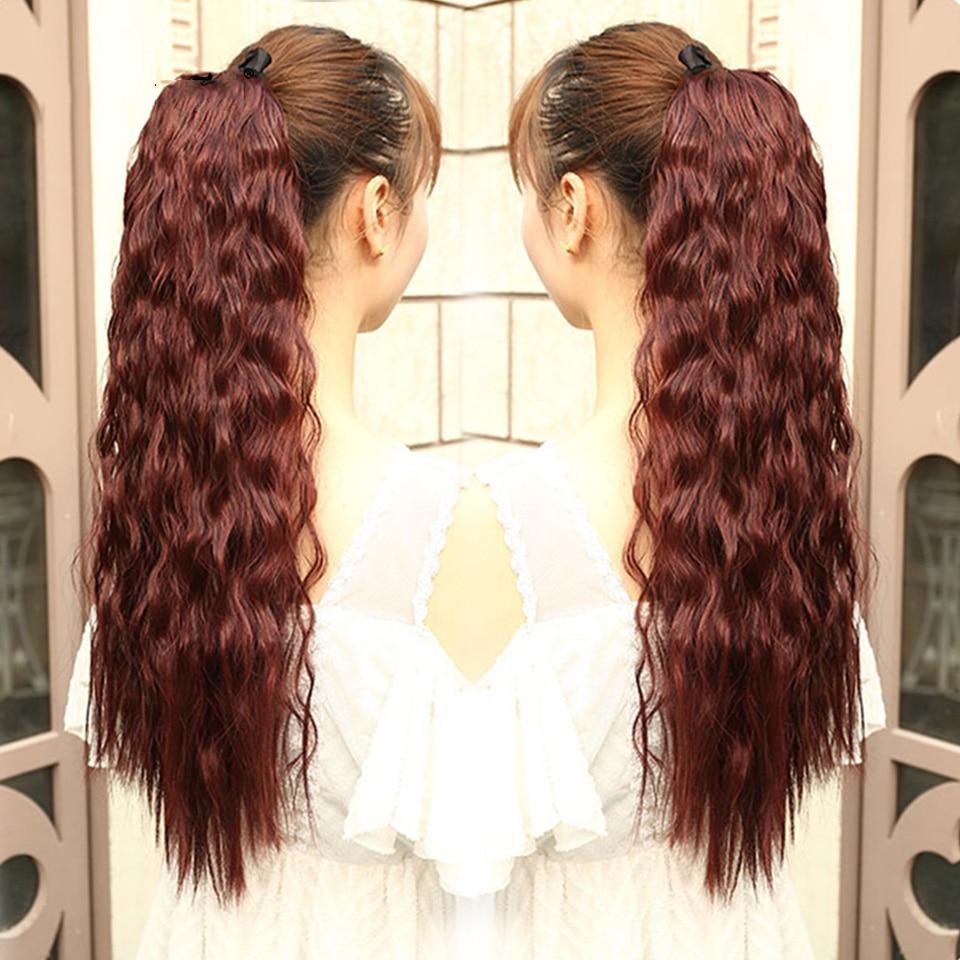 22 tum lång vågig hästsvans för svarta kvinnor vin röda hår - Syntetiskt hår - Foto 4