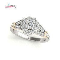 COLORFISH Two Tone Halo Engagement Rings Genuine 925 Sterling Silver Women Fashion Jewelry Sona Female Lotus