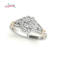 COLORFISH Two Tone Halo Engagement Rings Genuine 925 Sterling Silver Women Fashion Jewelry Sona Female Lotus