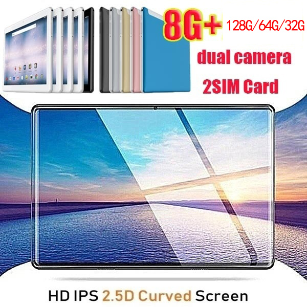 2.5 D Screen Metal 10.1 Inch Android 8.0 IPS1280x800 Tablet PC Octa Core Dual Camera 2.0MP/5.0MP RAM 8GB+ROM 128G/64G/32G WiFi