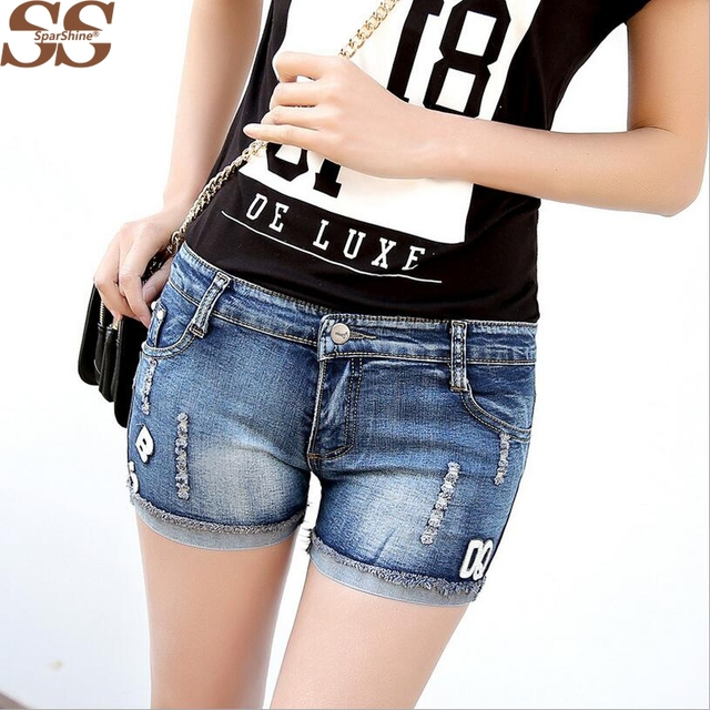2016 Fashion Style Hot Selling For Women Shorts Denim Jeans Style Solid Blue Hole Short Shorts Summer Famous Brand