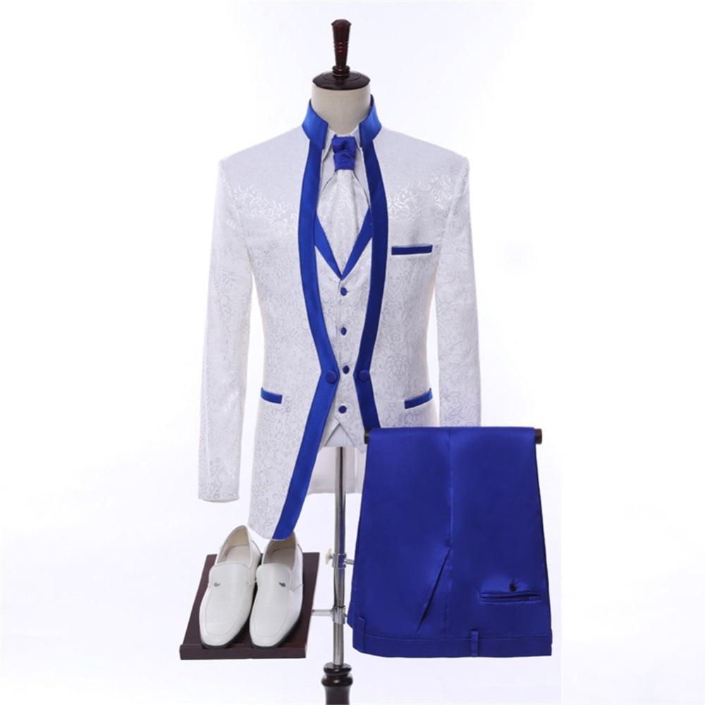 Gorgeous Slim Dark Blue Wedding Suits For Men Custom Made Men Blue Suit 2019 Fashion Style