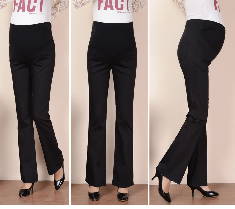 4945edaf986bd0 2018 Cotton Pregnant Pants Maternity Pants Work Office Career High Waist  Over Belly Slim Fit Elastic Waist Trousers for Women-in Pants & Capris from  Mother ...