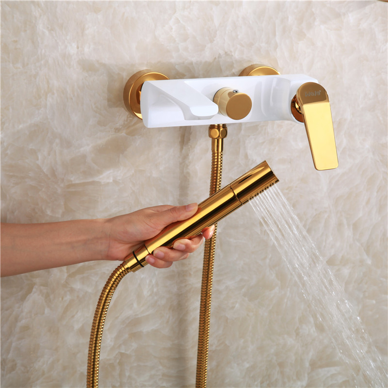 all copper white gold hot and cold mixer bathtub faucet into the wall with shower faucet set, cylinder edge faucet