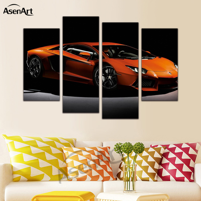 4 panel canvas art orange sports car painting home decoration living bedroom canvas prints wall picture frame ready to hang