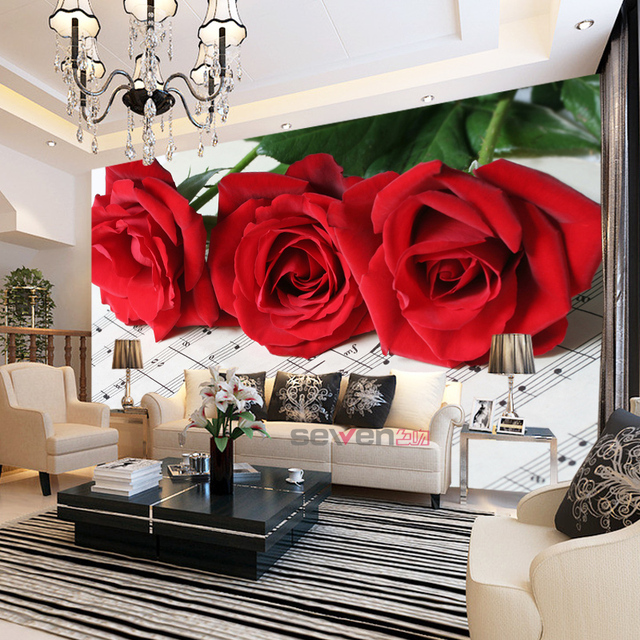 Three Red Rose Flowrer 8d Papel Mural Musical Note 3D Photo Murals Wallpaper 3d Wall