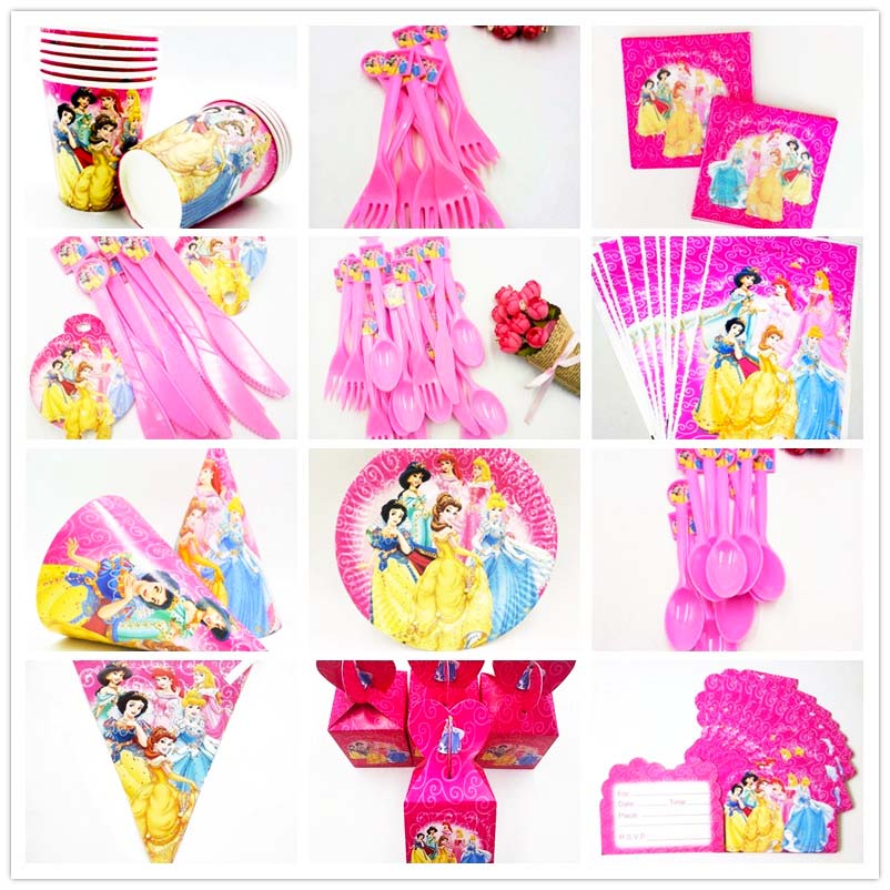Disney <font><b>Princess</b></font> Theme <font><b>Party</b></font> Supplies Plate Cups Straws Tablecloths Banner Napkins Birthday Decorations kids Favors Gifts Festa image