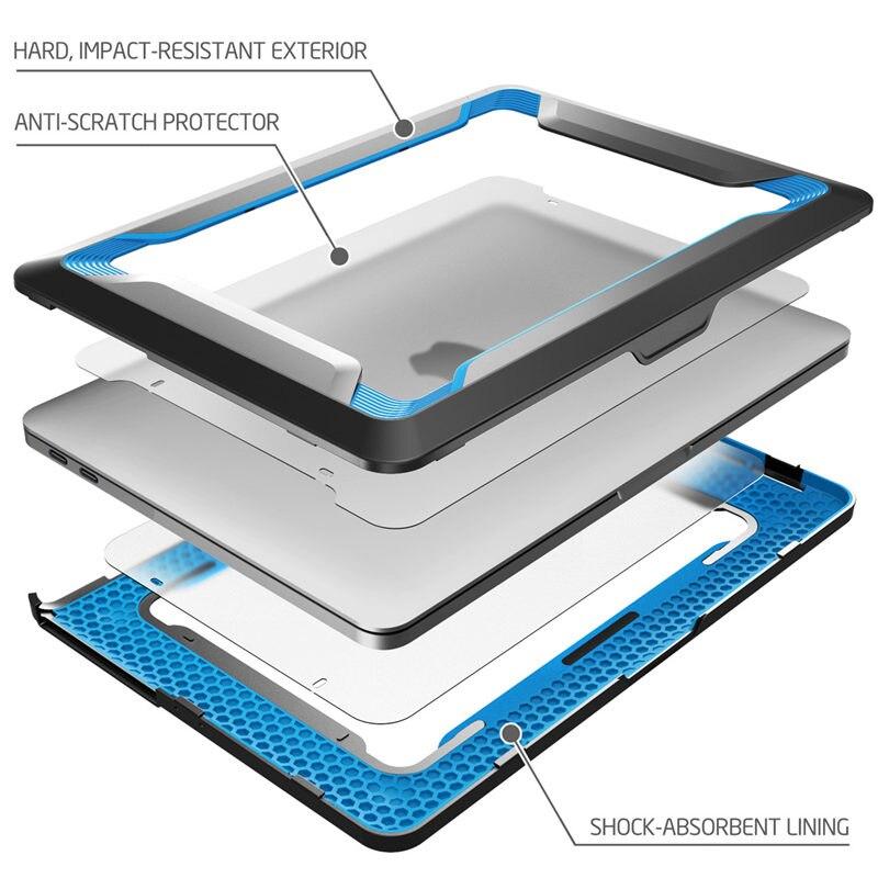 Pour MacBook Pro 15 Case A1990/A1707 (2019 2018 2017 libération 2016) avec barre tactile Touch ID protection de pare-chocs en polyuréthane caoutchouté robuste - 2