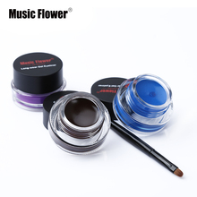Music Flower Brand Black Waterproof Eyeliner Gel Makeup Cosmetic Gel Eye Liner With Brush 24 Hours Long-lasting High Quality