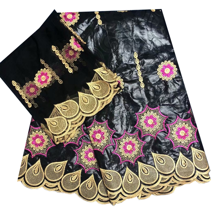 2019 Latest Beautiful Dubai Fabric High Quality Bazin riche embroidered beads fabric 5 2yards Swiss voile