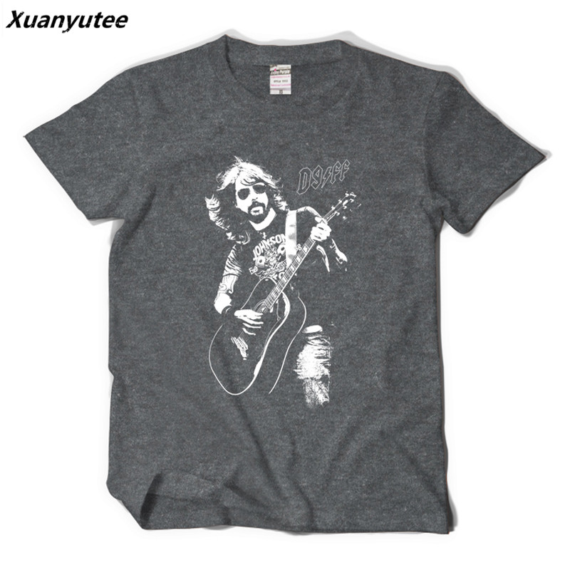 Xuanyutee Foo Fighters T shirt Homme Cotton O-neck Short Sleeve Print Dave Grohl Fans Fashion 2XL T-shirt Men Black Hip Hop Tees image