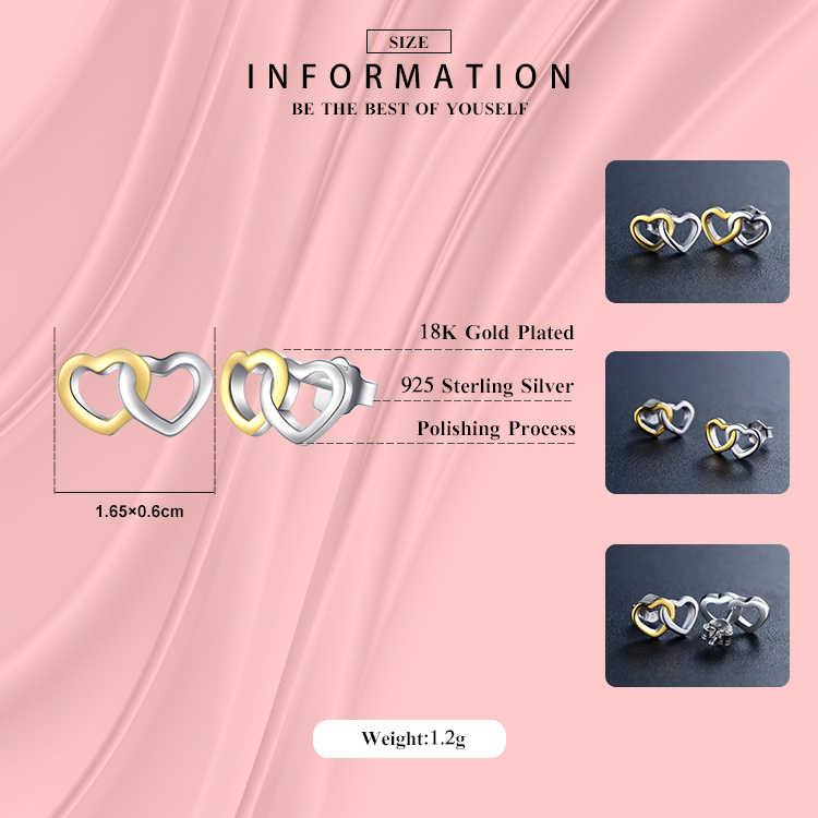 موديان جديد أصيلة 100% 925 فضة خاتم وأقراط موضة مزدوجة قلوب الذهب اللون الأبيض مجوهرات الزفاف مجموعة