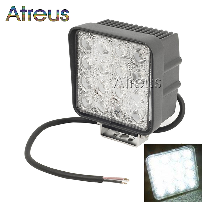 Atreus 4.5Inch 48W 16X 3W Square Car LED Work Light 12V DRL Lamp For 4x4 Offroad Truck Tractor Driving Fog Lamp car accessories 1pcs 48w square round shape flood worklight head lamp truck motorcycle off road fog lamp tractor car led headlight work lights