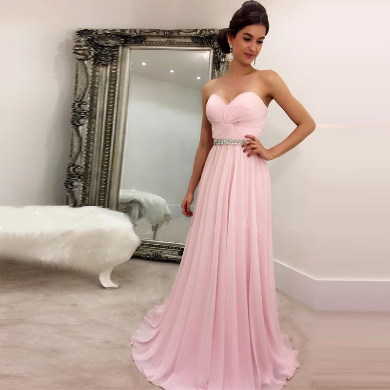 Light Pink Prom Dresses Pleated Sweetheart Long Chiffon Prom Evening ...