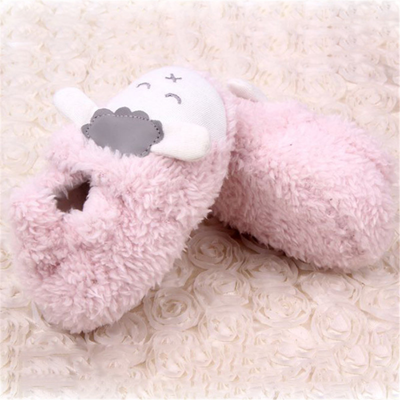 Baby Girls Winter Warm Plush Booties Infant Soft Slipper Crib Cartoon Sheep Shoes First Walkers 2017 New Arrivals