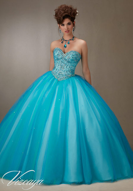 2017 Royal Blue Champagne Quinceanera Dresses With Beaded Masquerade Ball Gown Sweet 16 Dress Party