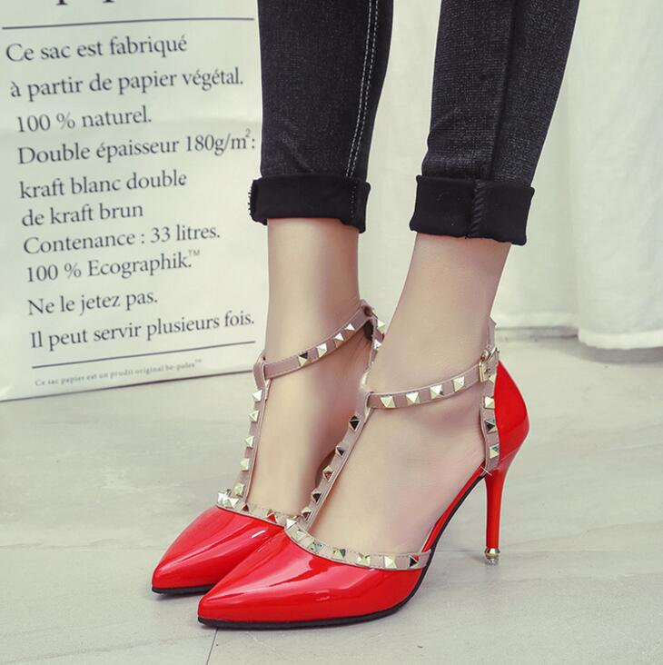 XDA 2017 NEW woman High heels shoes Ladies Sexy Pointed Toe women pumps Buckle rivets nude heels shoes free shipping X601 1
