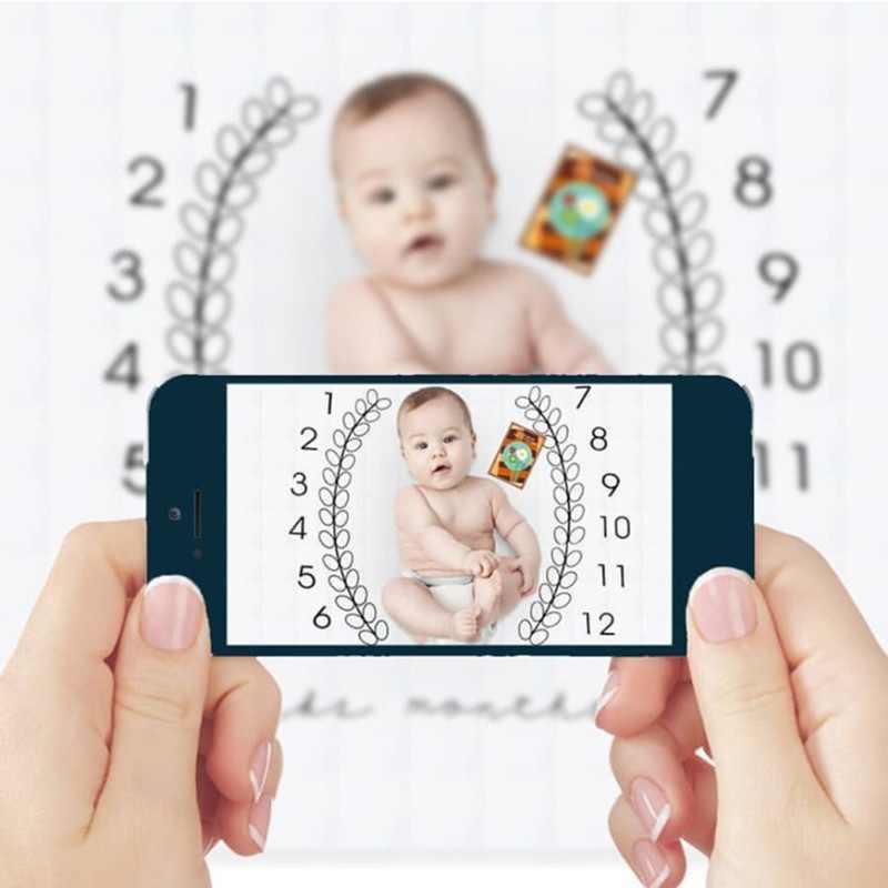 Cartoon wzór niemowlę dziecko Milestone rekwizyty fotograficzne tło koce zagraj w maty tło tkaniny kalendarz akcesoria fotograficzne Nordic