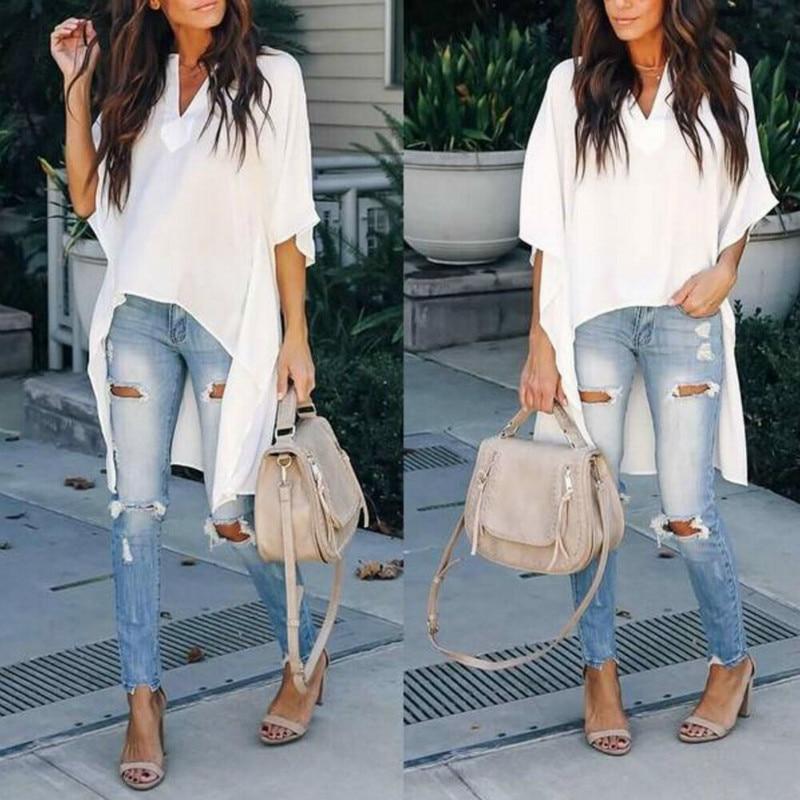 New Fashion Women Chic Elegant Sexy Soft Irregular V-Neck   Blouses   Half sleeve Plus Pullover   Shirts   Long Women Clothing