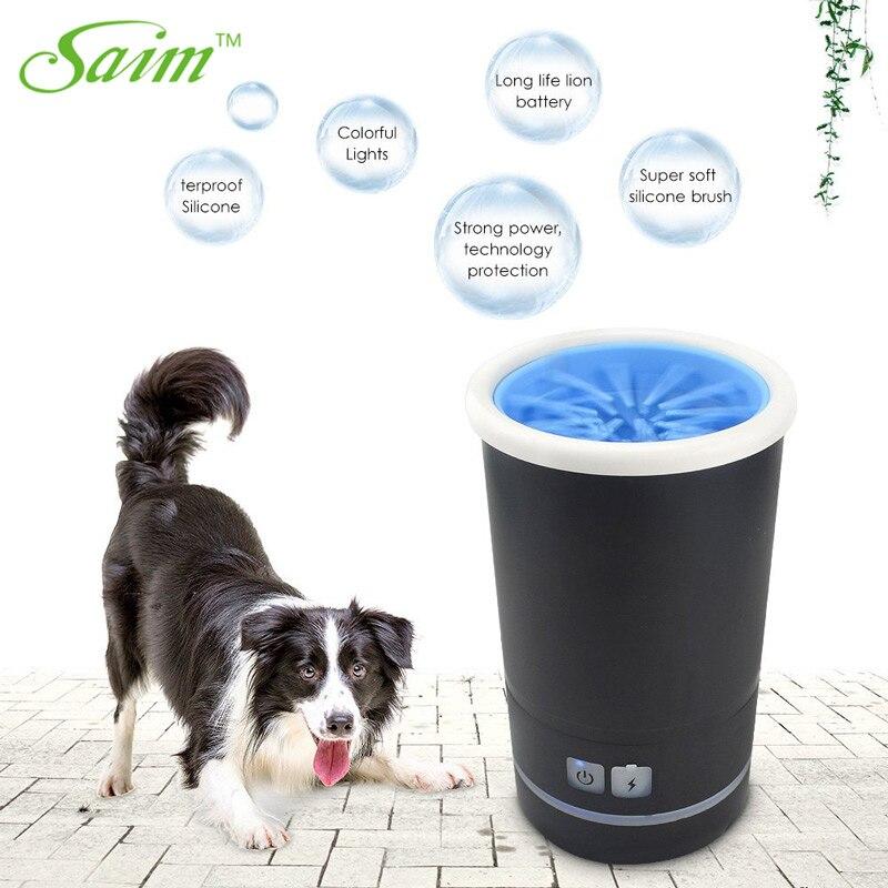 Saim автоматическое приспособление для очистки лап портативное приспособление для очистки лап для домашних животных щетка для чистки чашек Авто кошка собака очиститель для ног с USB зарядным устройством