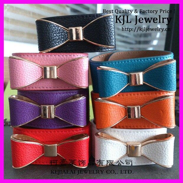 14pcs 2016 New Style Colorful Soft Leather Wrap Shamballa Bracelets, Sides Bow TIE Leather Bracelet for Performance