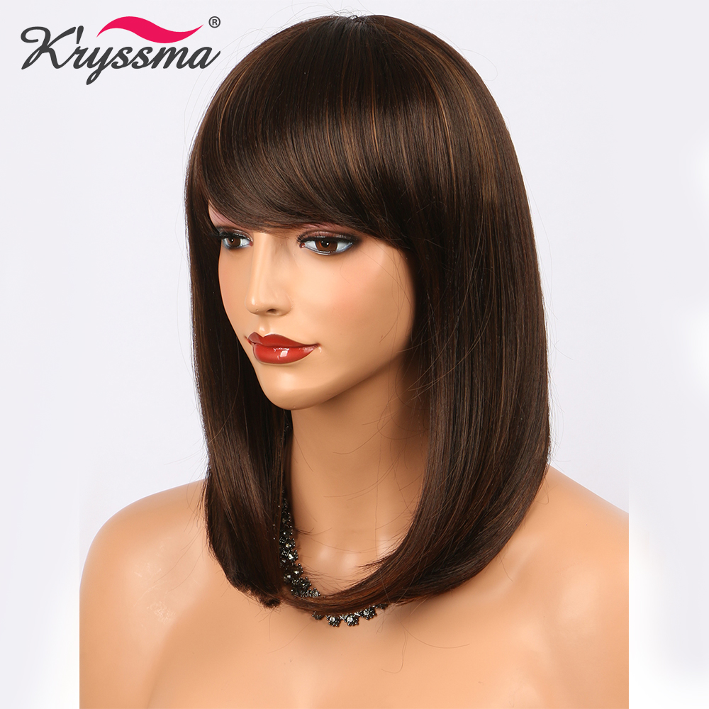 Short Brown Wig Straight Synthetic Hair Wigs for Women Bob Wigs with Bangs 14 Inches Highlight Blonde Heat Resistant Fiber
