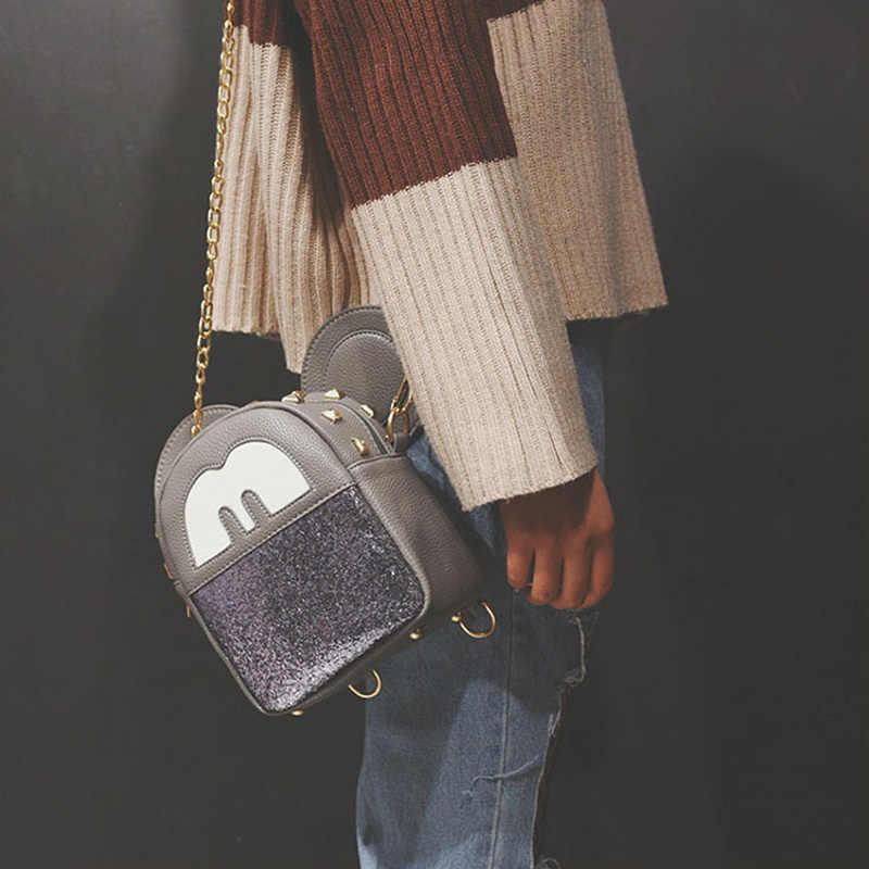 Disney Микки Маус женская сумка мини-рюкзак с блестками модный мультфильм Микки диагональ сумки с ремнем через плечо маленькая сумка для девочек Подарки на день рождения