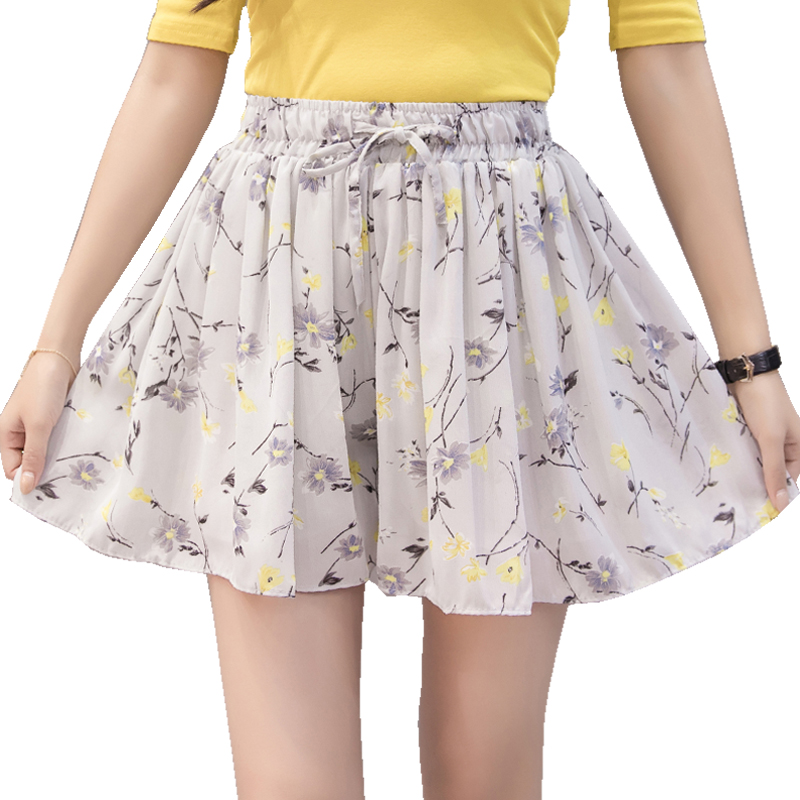 Plus Size 4XL Chiffon   Shorts   Women Floral Print   Short   Femme 2019 New Summer Style Hot Loose Casual Thin Mid Casual   Short   Women's