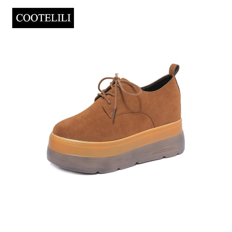 COOTELILI 35-39 Spring Casual Flats Women Shoes Platforms Soft Leather Loafers Round Toe Inside Heighten Lace-Up Solid Shoes