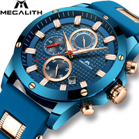 MEGALITH Men Quartz Sports Watch With Waterproof Analogue Chronograph Rubber Strap Military Watches Man Clock Horloges Mannen