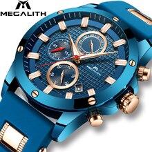 Megalith masculino relógio de quartzo esportes com impermeável analógico cronógrafo pulseira de borracha militar relógios homem horloges mannen