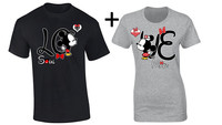 Mickey Minnie Kissing LOVE Couple Lovers Casual T Shirt US Standard Plus Size S 3XL Factory