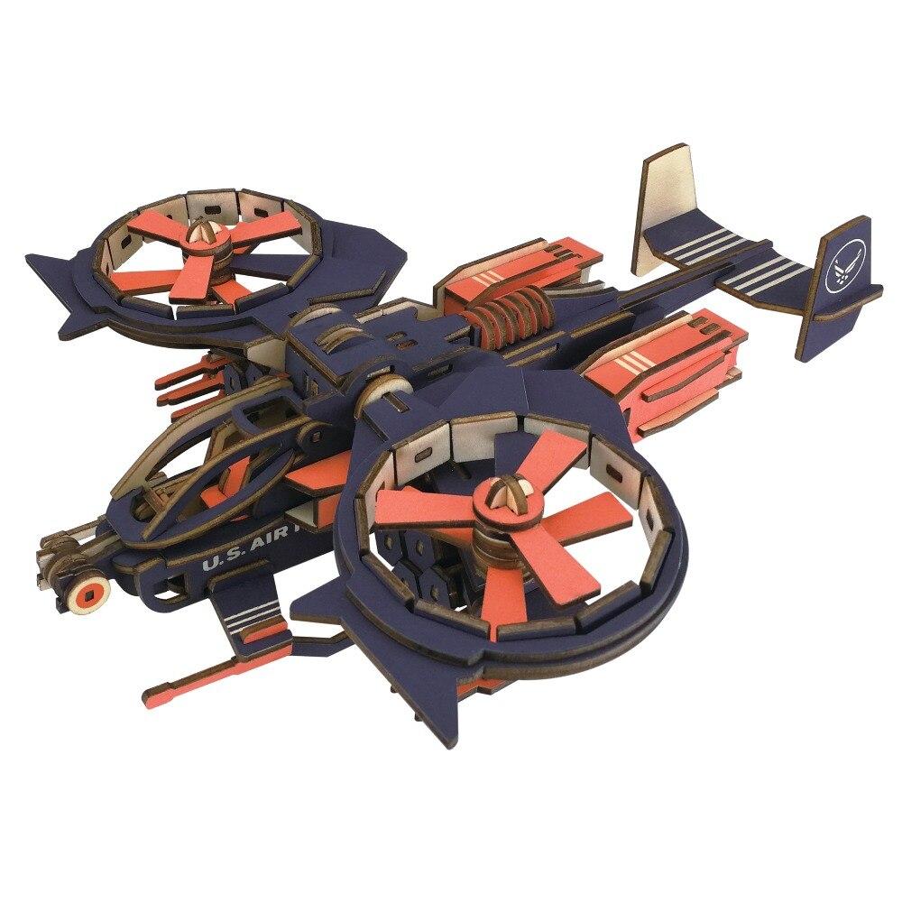 Gunship Model Kids Toys Laser Cutting 3D Puzzle Wooden Diy ...