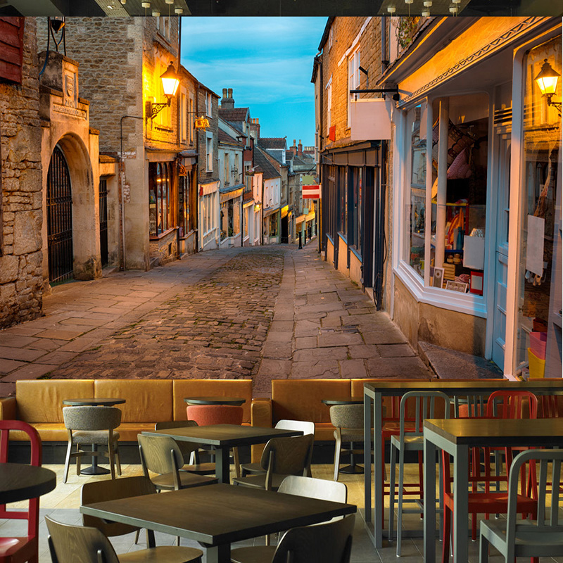Custom Mural Wallpaper European Italy Street Town Landscape Painting Photo Wall Murals Restaurant Cafe Interior Decor Wallpapers