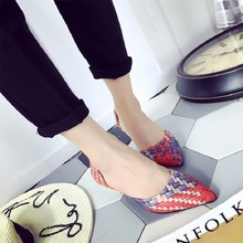 Free shipping spring/summer pointed toe single shoes women's woven tip thin heels comfortable high heeled shoes