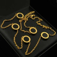 Fashion Accessories Women Necklace Roman numerals LOGO round shell double sided long chain Necklace Vintage Sweater Chain