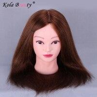 100% Natural Hair Training Head Professional Hair Styling Head Mannequin Hair Hairdressing Dolls Head Female Model