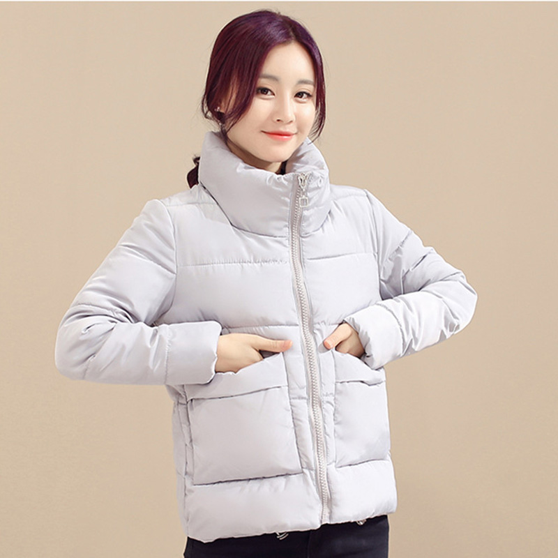 ALMUERK Sale Winter Women   Parkas   Solid Color Cotton With The Zipper Pocket Stitching Casual Coat Elegant Style Female Coat