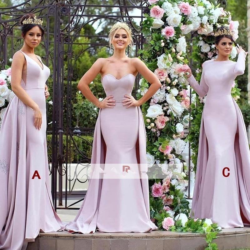 Detachable 2019 Cheap Bridesmaid Dresses Under 50 Mermaid Sweetheart Long Wedding Party Dresses For Women