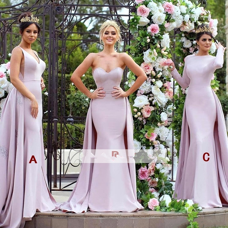Detachable 2019 Cheap   Bridesmaid     Dresses   Under 50 Mermaid Sweetheart Long Wedding Party   Dresses   For Women