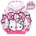 Para 90-140 cm niños chaquetas para niñas niñas niños del gatito lindo del hola de manga larga con cremallera outwear primavera otoño